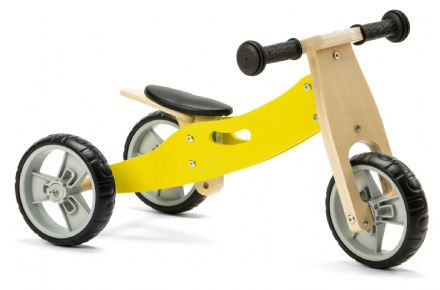 NIC804 Mini 2 in 1 Yellow Wooden Balance Bike Trike